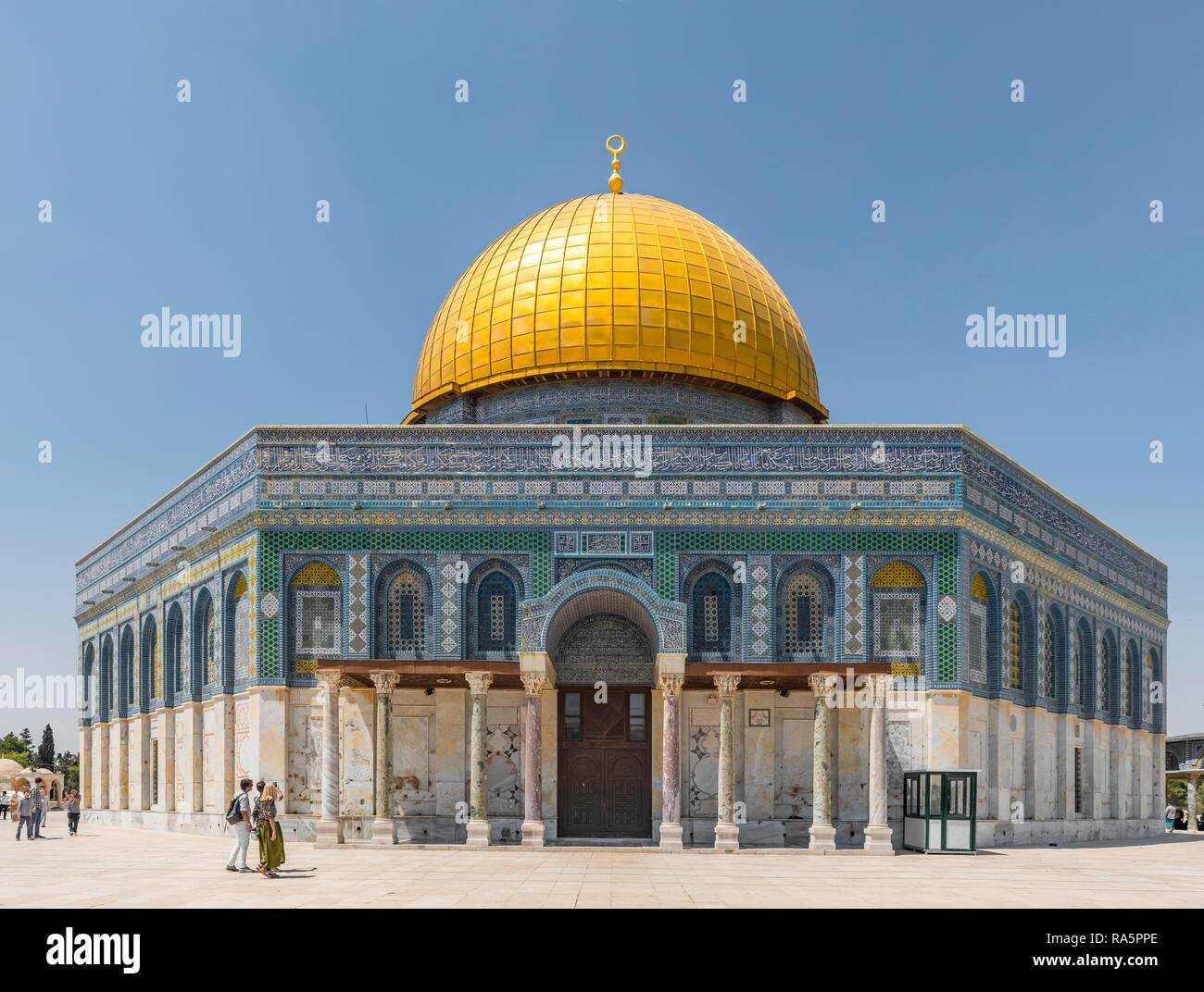Decorated facade and golden dome, Dome of the Rock, also Qubbat As-sachra, Kipat Hasela, Temple Mount, Old Town, Jerusalem Stock Photo
