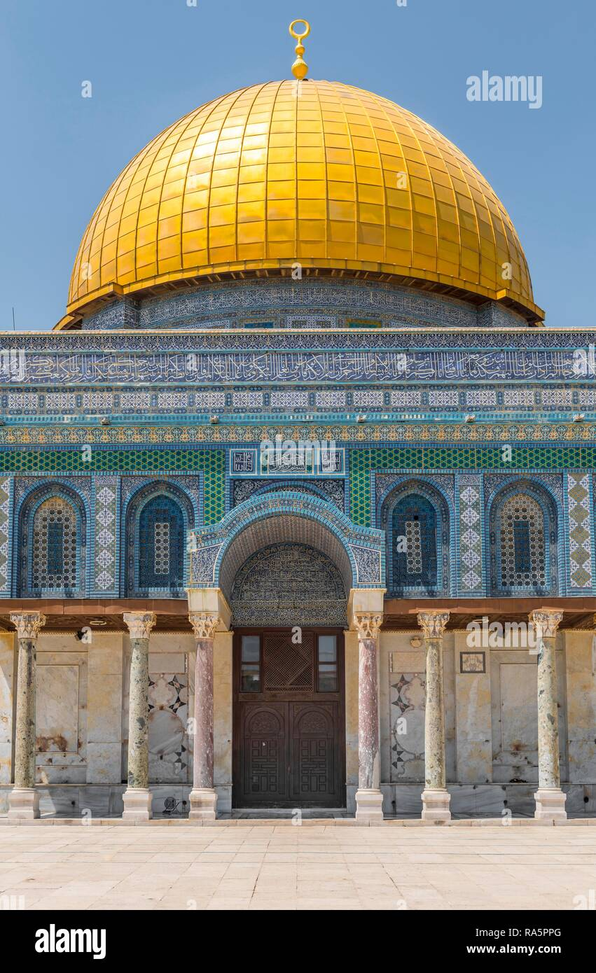 Dome of the Rock, also Qubbat As-sachra, Kipat Hasela, Temple Mount, Old Town, Jerusalem, Israel Stock Photo