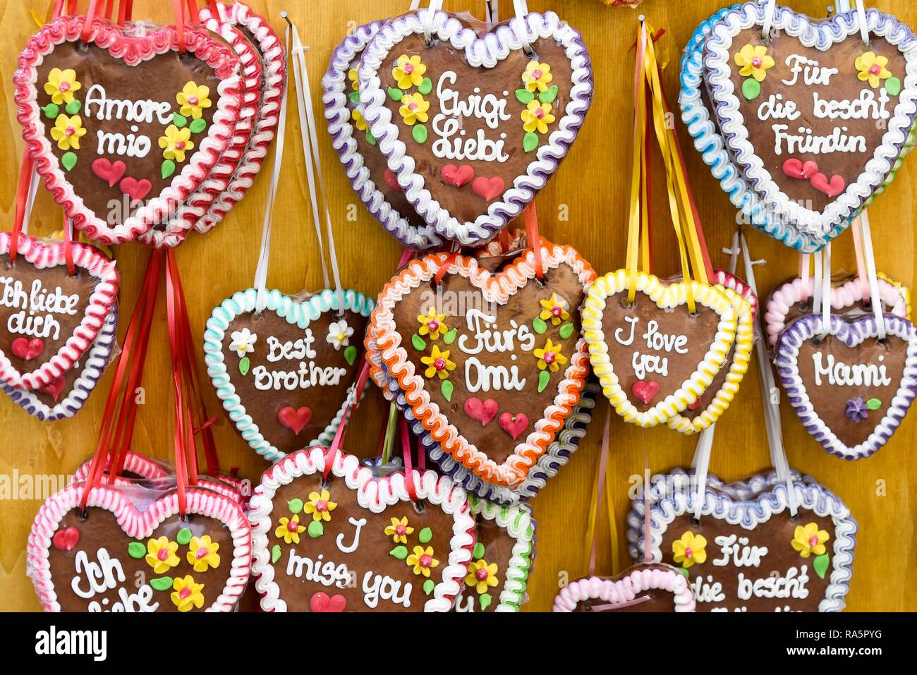 Gingerbread Hearts With Sayings Switzerland Stock Photo 230009124