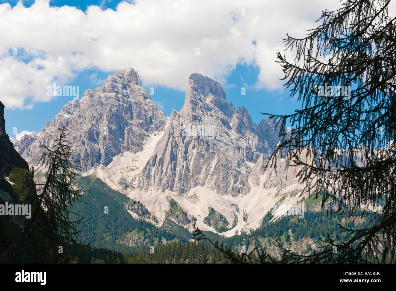 Monte Cristallo, 3221 m, near Cortina d'Ampezzo, Dolomites, Belluno, Veneto, Italy - Stock Image