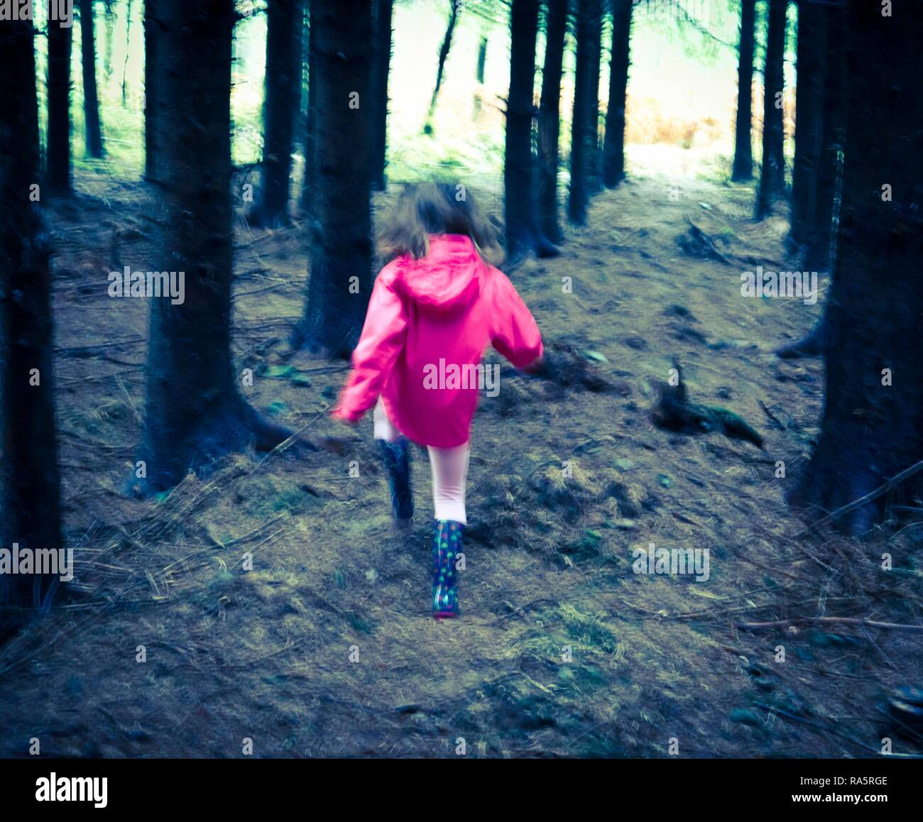 Young girl in pink coat running towards light out of forest, United Kingdom - Stock Image