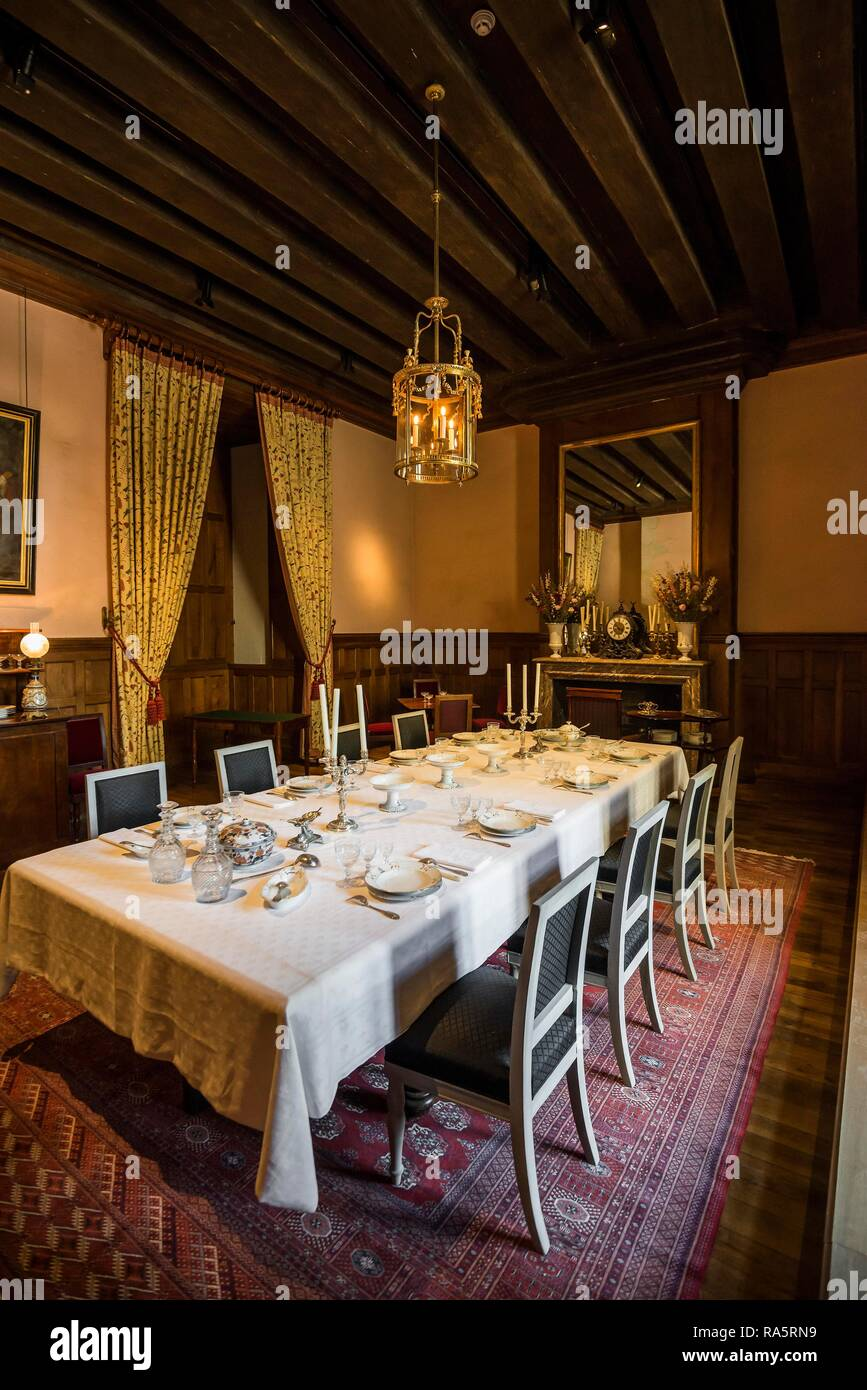 Historic dining room, Chateau Azay-le-Rideau, Renaissance Castle on the Loire, UNESCO World Heritage Site - Stock Image