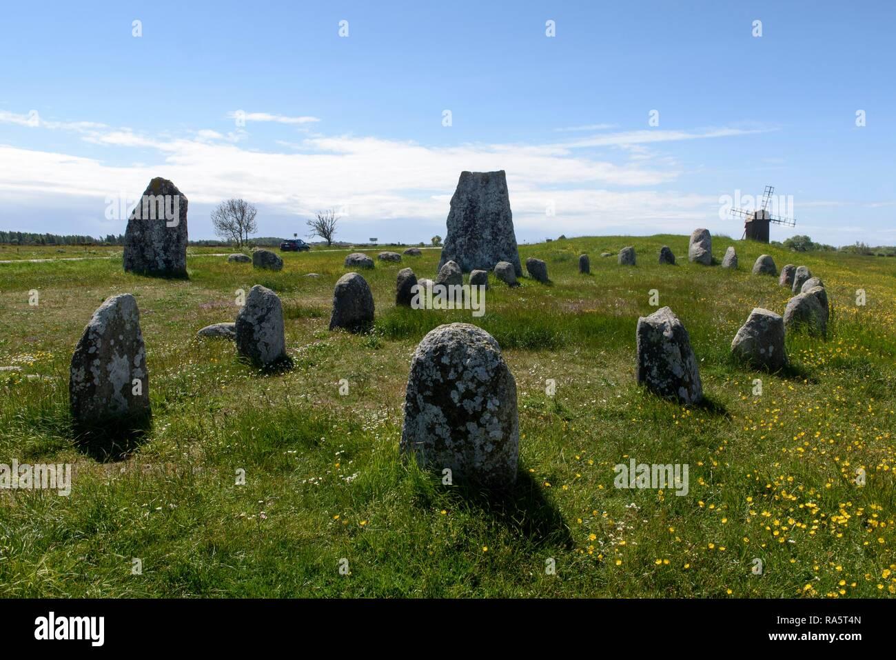 Stone ship, burial ground at Gettlinge, Öland, Kalmar County, Sweden - Stock Image