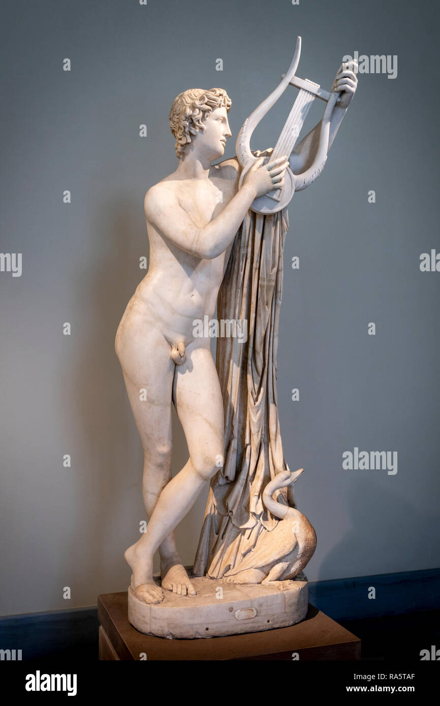 A marble sculpture of the Mythological figure Pothos a lover of the godess Aphrodite 2nd. cen. AD, A Roman copy of a 4th cen. BC Greek original. In th Stock Photo