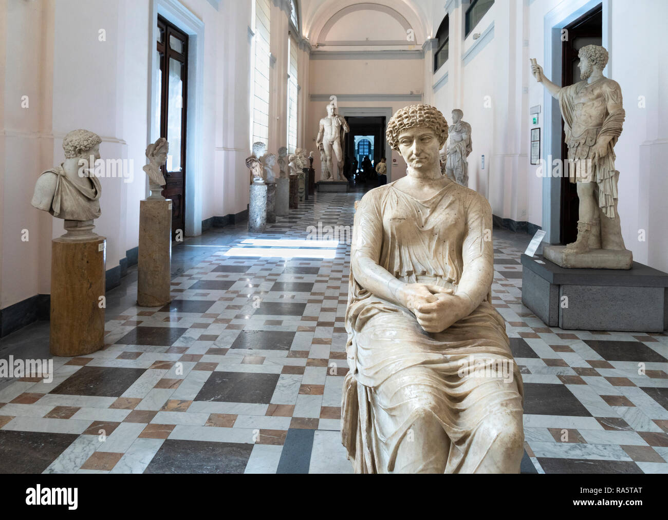 Roman period sculptures on display, including in the foreground, the so called, Agrippina, Neornian-Flavian. In the National Archaeological Museum at  - Stock Image