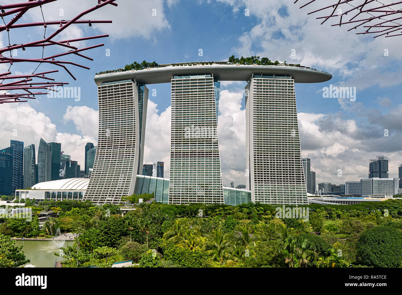 Bay Marina Sands Hotel viewed from the Supertree Grove in Singapore - Stock Image