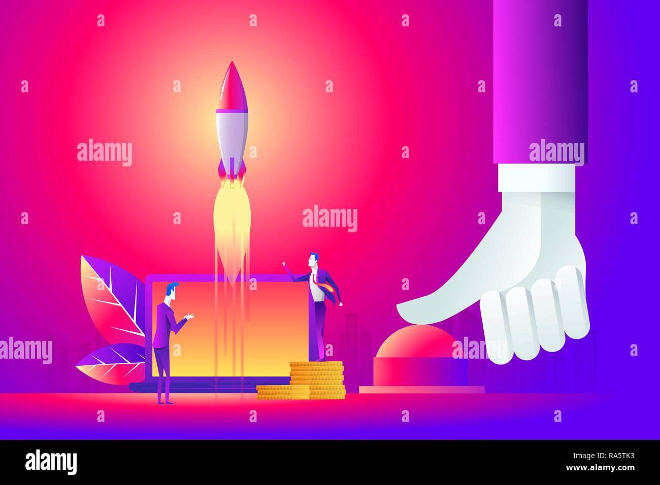 Business concept illustration of a businessman hand pushing start button, start up, war concept. - Stock Image