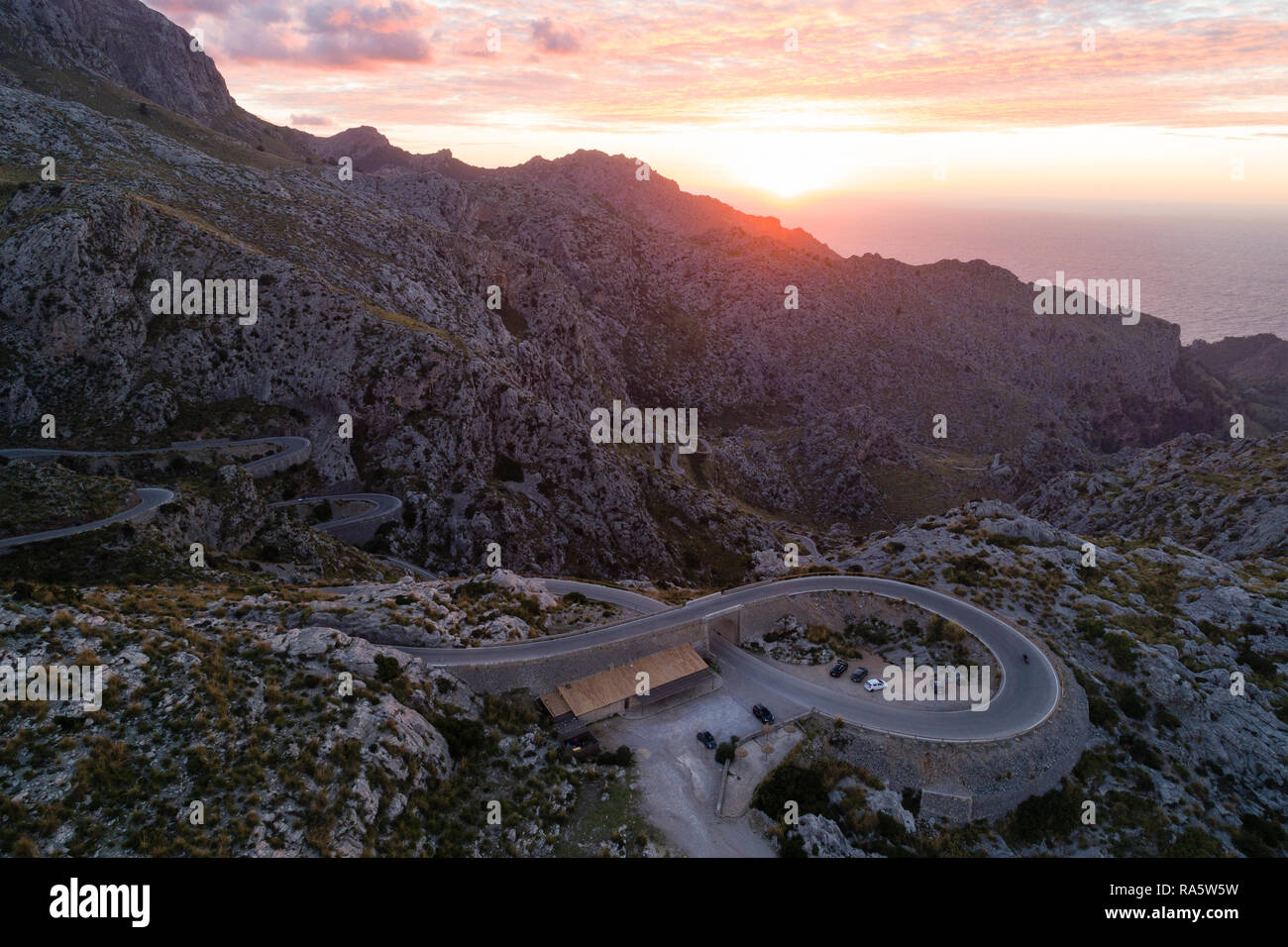 Sa Calobra Road at dusk, one of the most scenic and spectacular roads in the world, Mallorca island, Spain - Stock Image