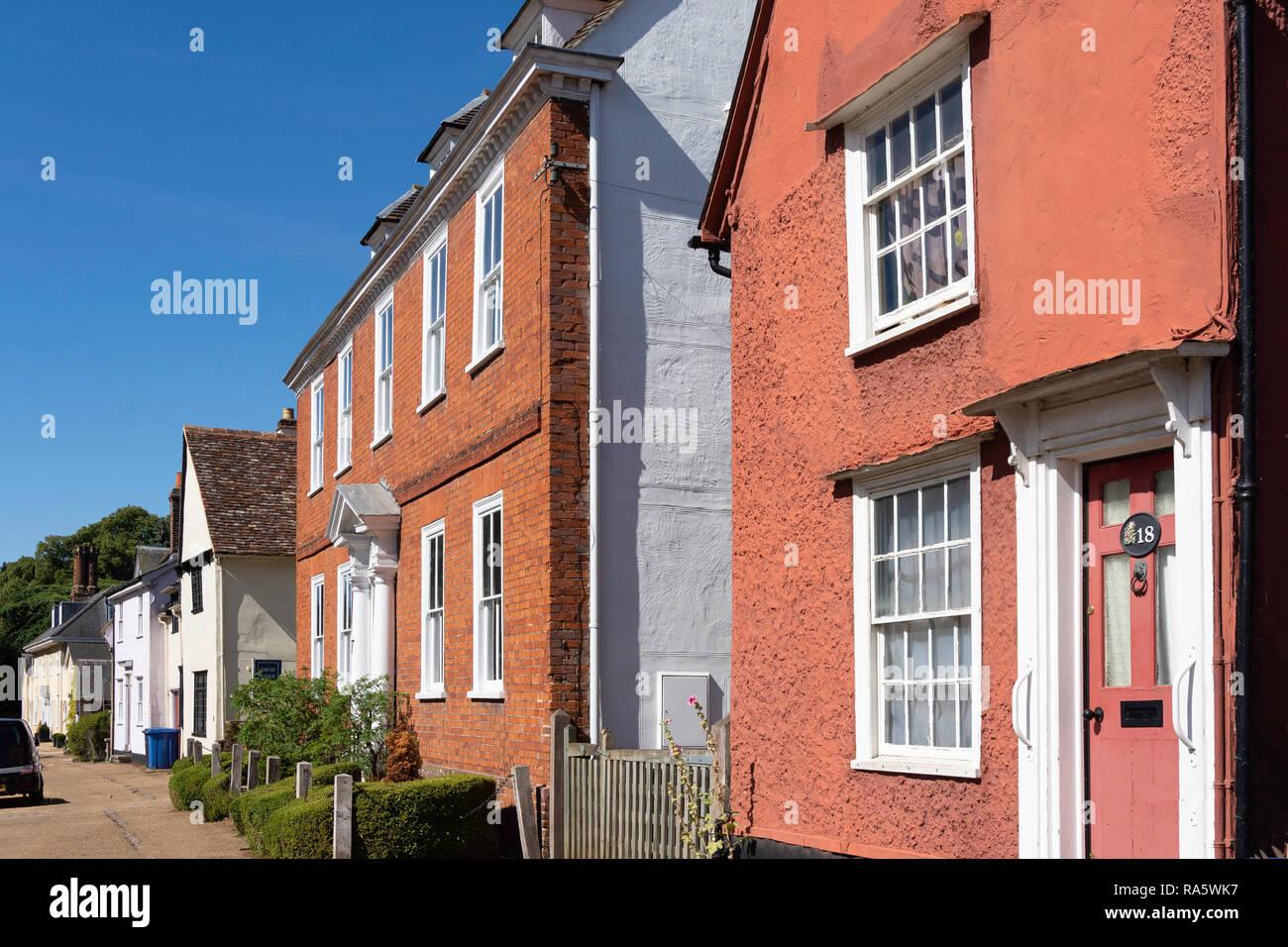 Period houses, Nethergate Street, Clare, Suffolk, England, United Kingdom - Stock Image