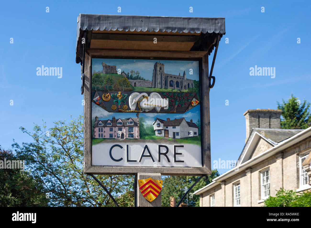 Village sign, Nethergate Street, Clare, Suffolk, England, United Kingdom - Stock Image
