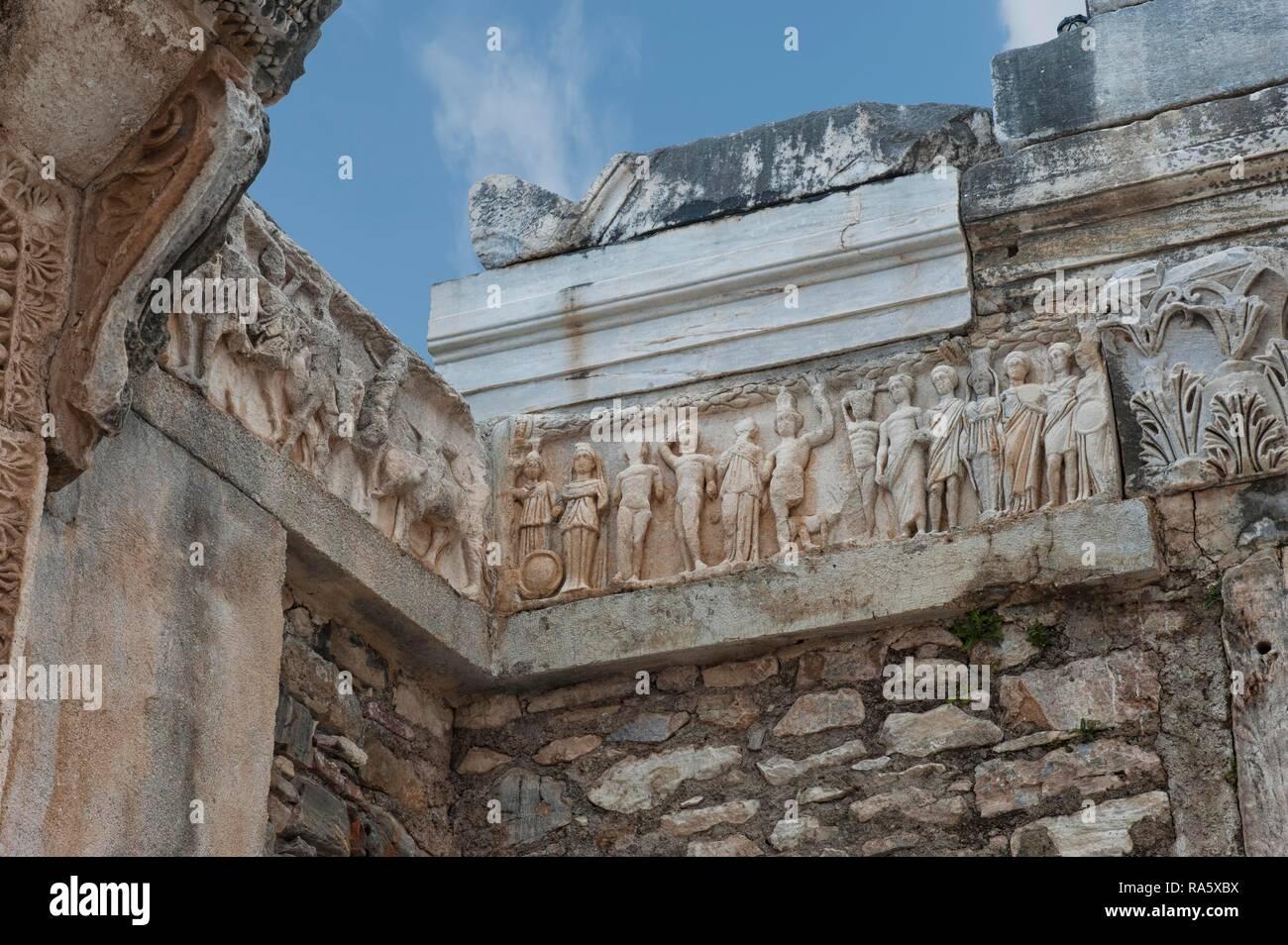 Hadrian Temple, detail of the frieze of the foundation myth, Ephesus, Izmir Province, Turkey - Stock Image