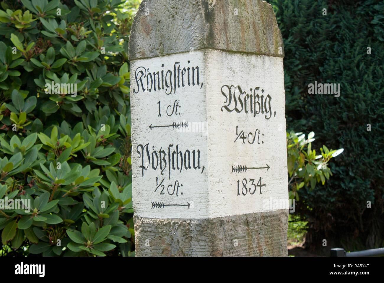 Old signpost, health resort of Rathen, Saxon Switzerland, Saxony - Stock Image