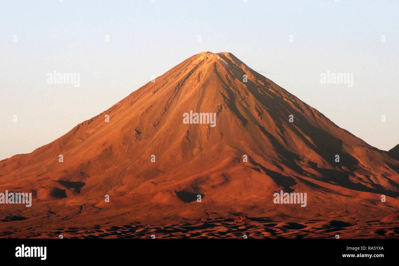 Licancabur Volcano, the Atacama desert protector in the highland landscape. Unusual places to visit concept. San Pedro of Atacama, Chile. - Stock Image
