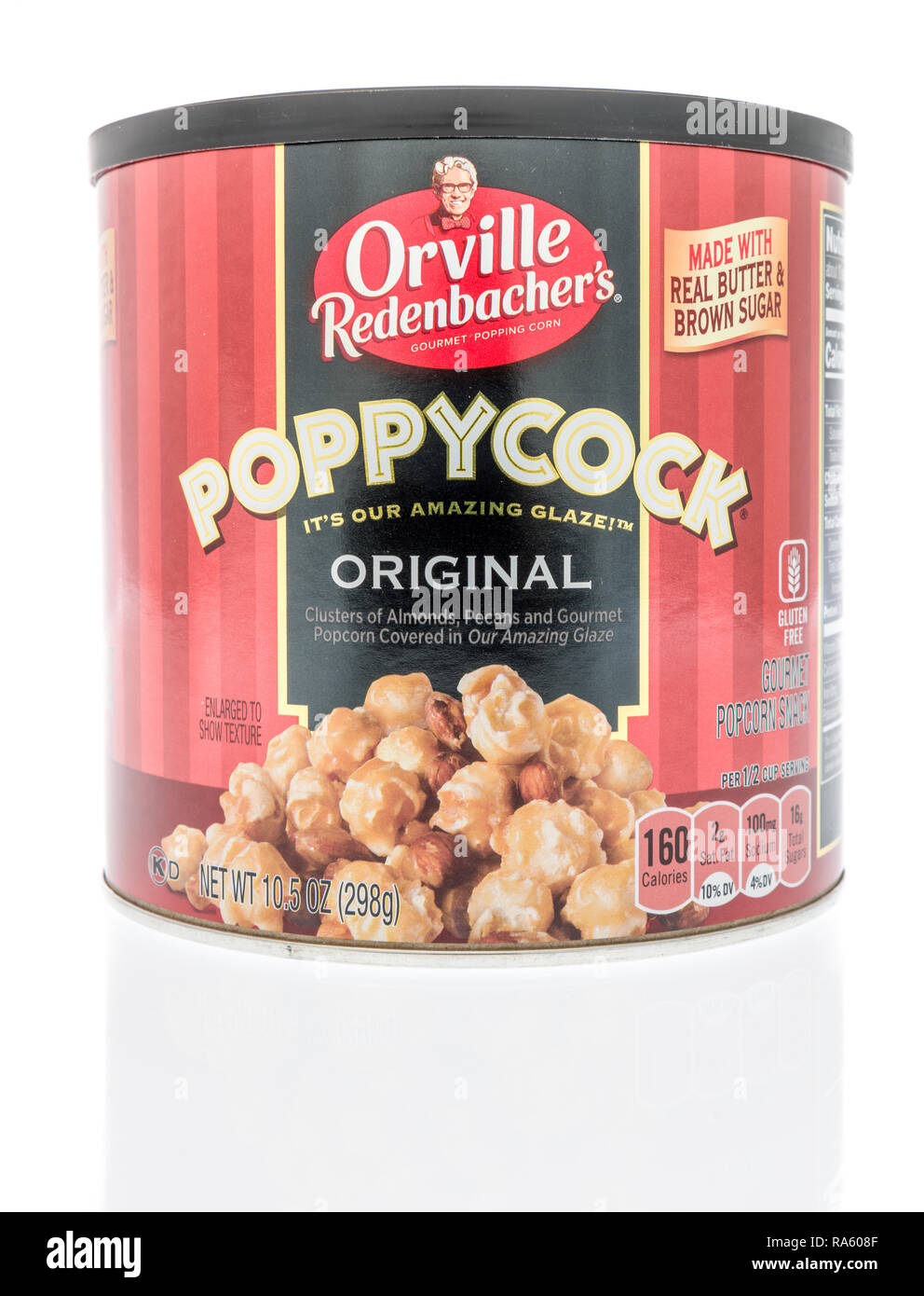 Winneconne, WI - 30 December 2018: A package of Orville Redenbachers poppycock on an isolated background. Stock Photo