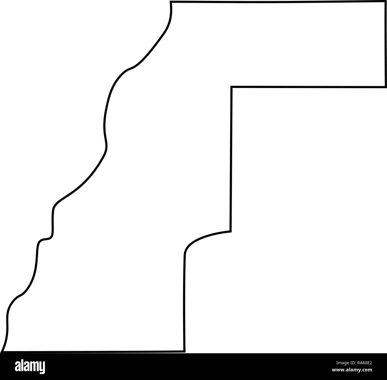 map of Western Sahara - outline. Silhouette of map of Western Sahara vector illustration - Stock Image