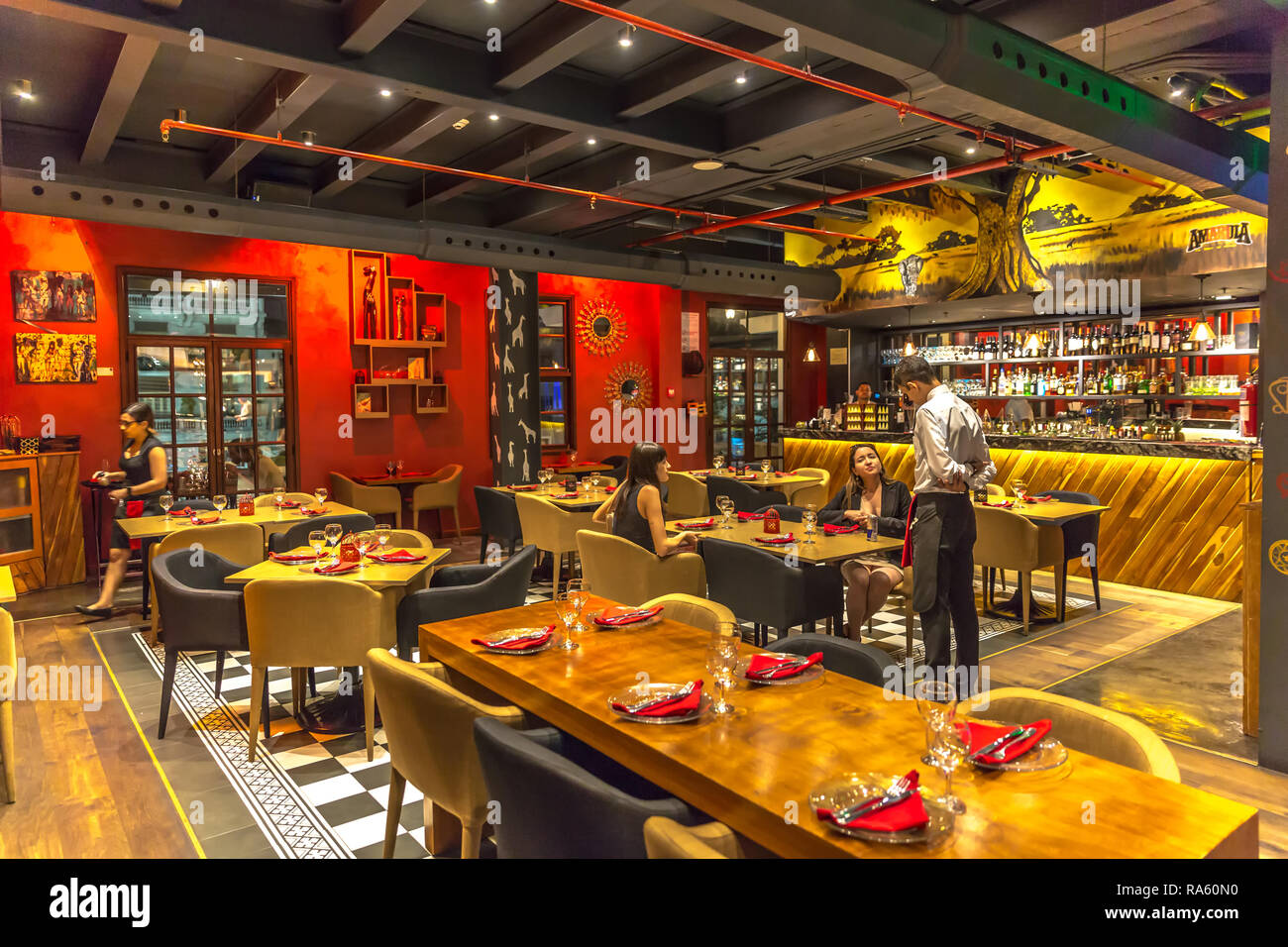Panama City Panama Mar 10th 2018 Tourist Having Dinner In A Fancy And Modern Restaurant In Casco Viejo Area In Panama City In Panama Stock Photo Alamy