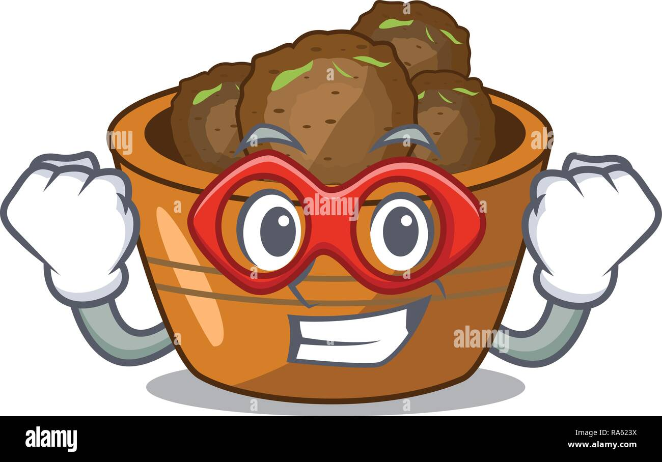 Super hero gulab jamun on the character table - Stock Vector