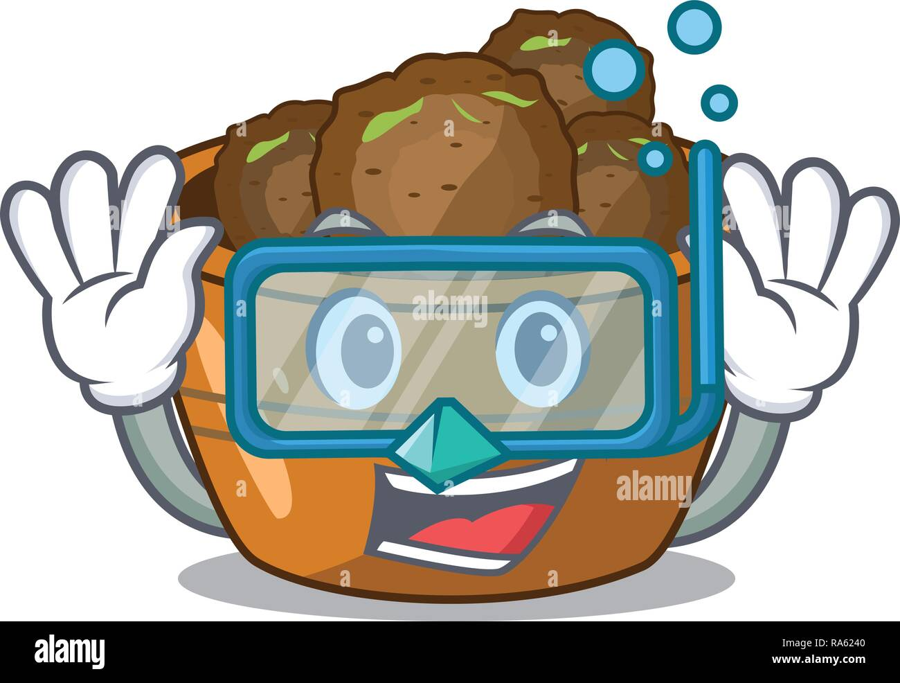 Diving gulab jamun on the character table - Stock Vector