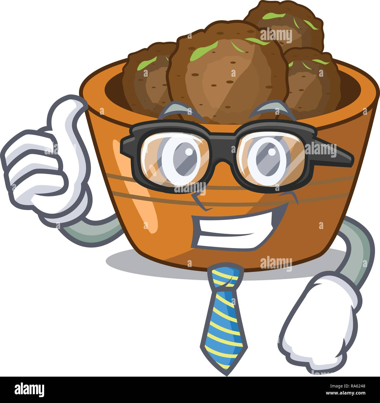 Businessman gulab jamun on the character table - Stock Vector