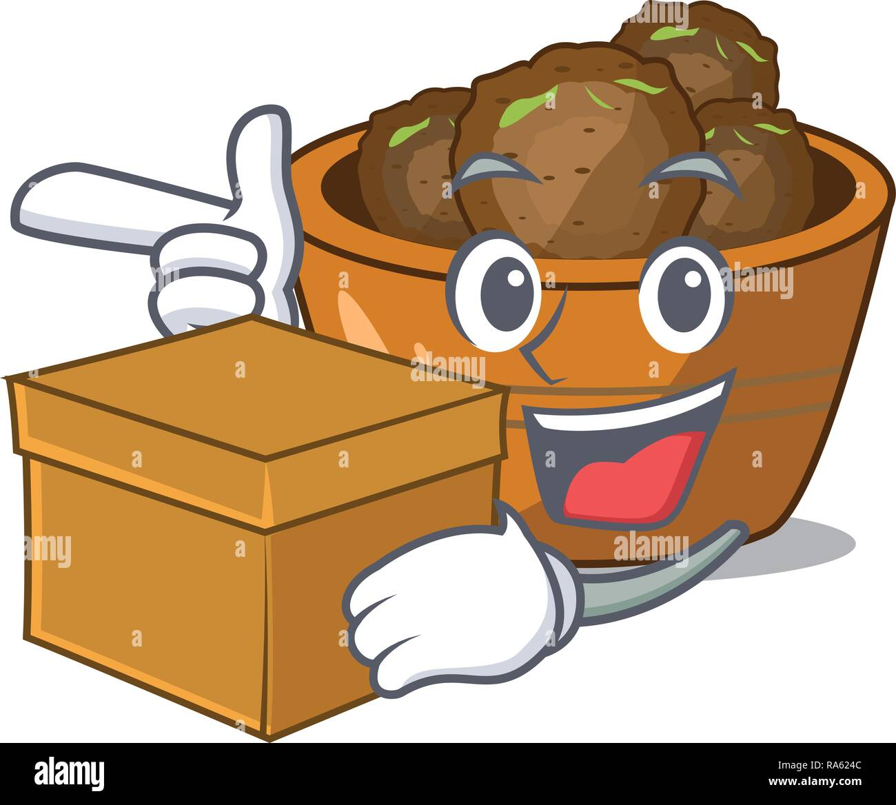 With box gulab jamun on the character table - Stock Vector