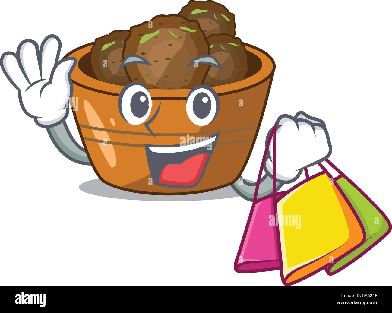 Shopping gulab jamun on the character table - Stock Vector