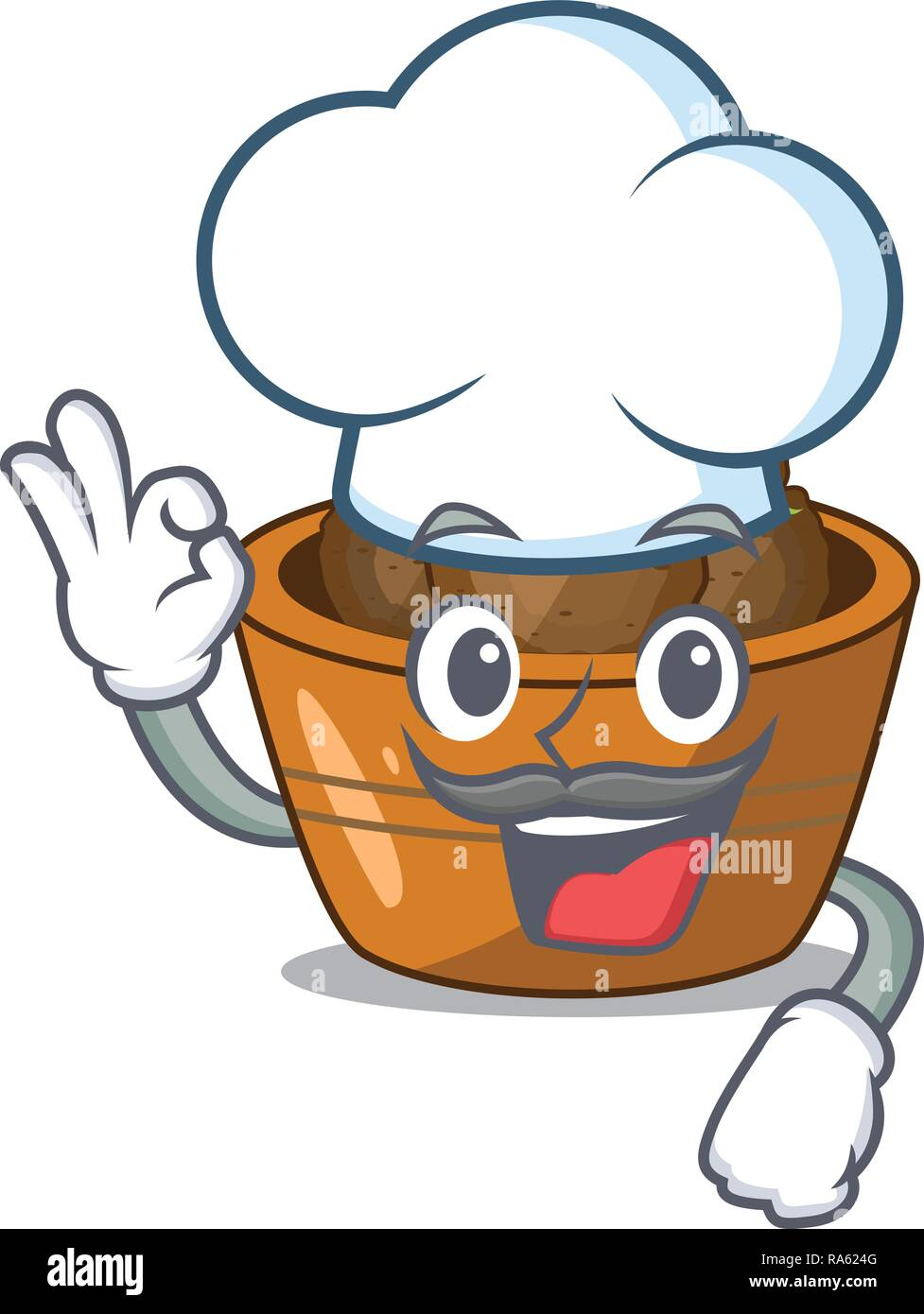 Chef gulab jamun on the character table - Stock Vector