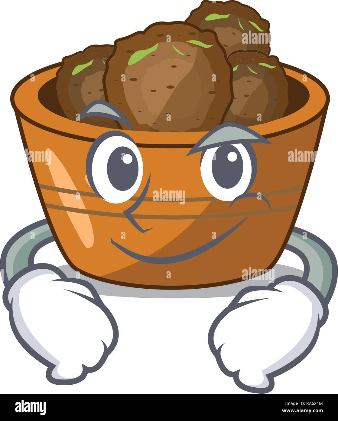 Smirking gulab jamun on the character table - Stock Vector