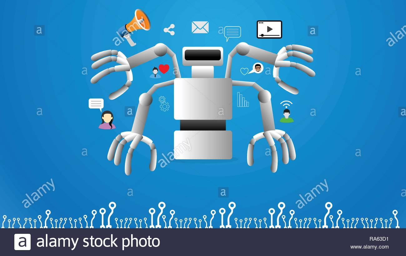 Modern concept of marketing automation - Stock Image