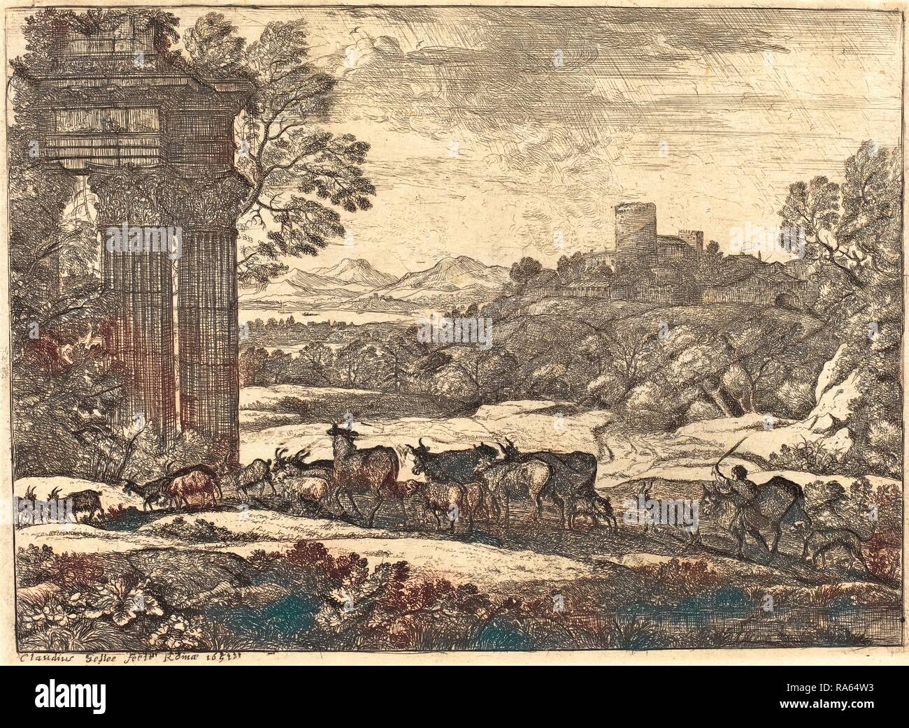 Claude Lorrain, French (1604-1605-1682), The Herd Returning in Stormy Weather (Le troupeau en marche par un temps reimagined - Stock Image