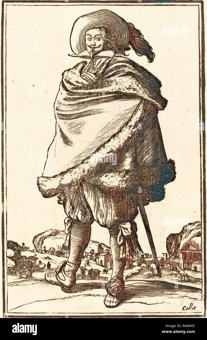 after Jacques Callot, Noble Man Wrapped in a Mantle Trimmed with Fur, woodcut. Reimagined by Gibon. Classic art with reimagined - Stock Image