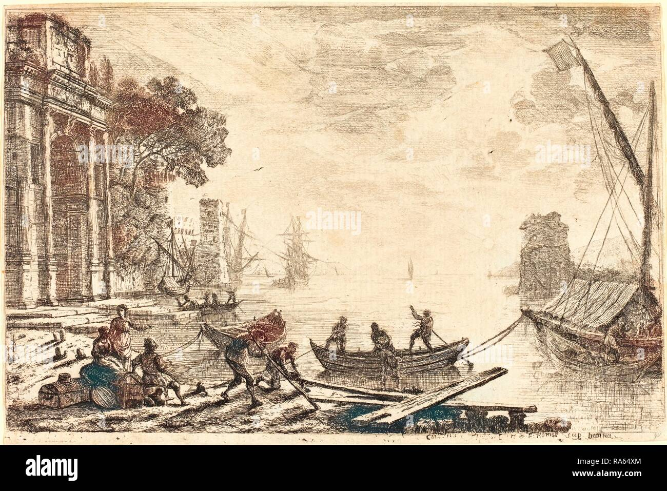Claude Lorrain, French (1604-1605-1682), Harbor Scene with Rising Sun (Le soleil levant), 1634, etching. Reimagined - Stock Image