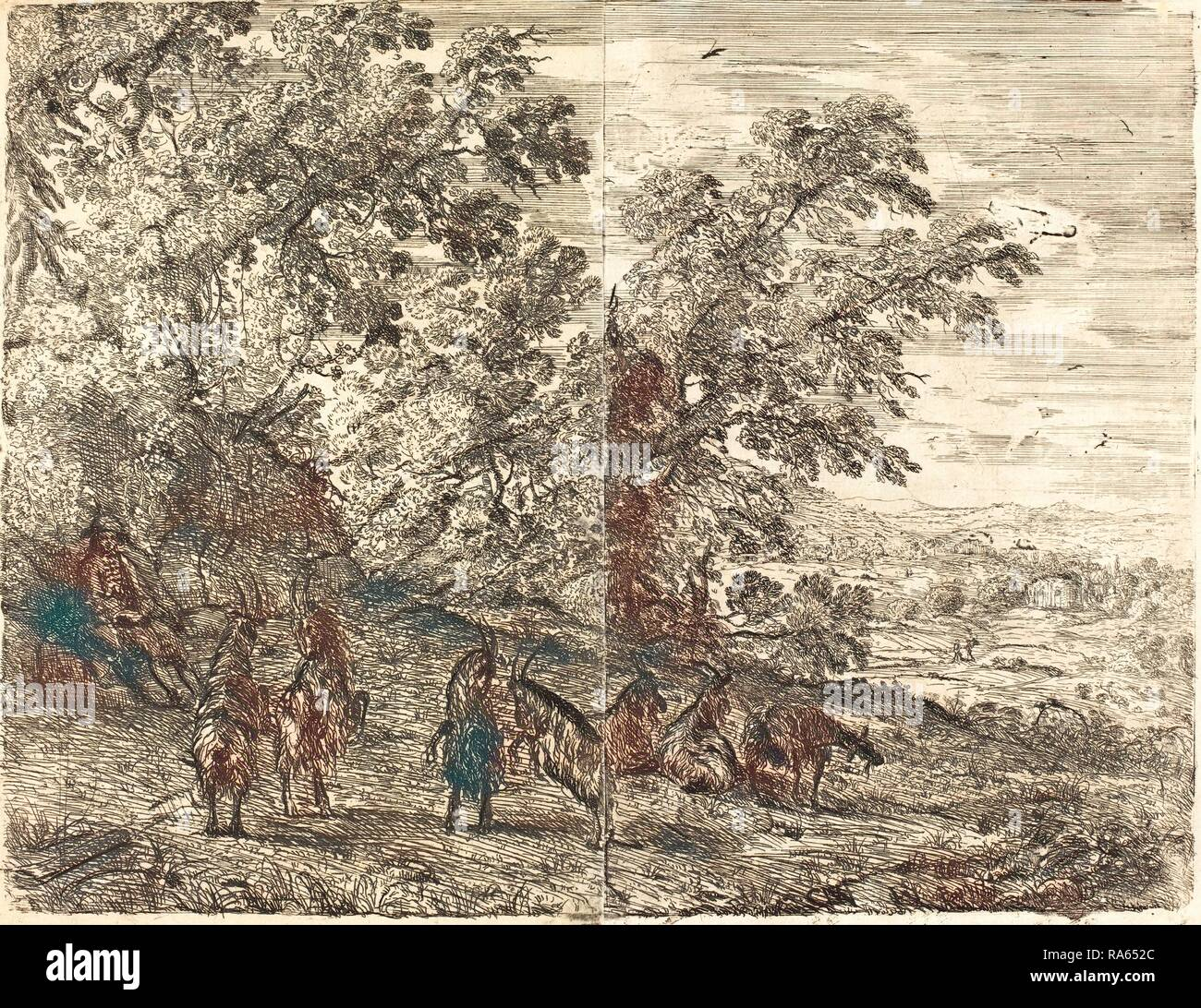 Claude Lorrain, French (1604-1605-1682), Shepherd with Goats (Les chèvres), c. 1630-1633, etching. Reimagined - Stock Image