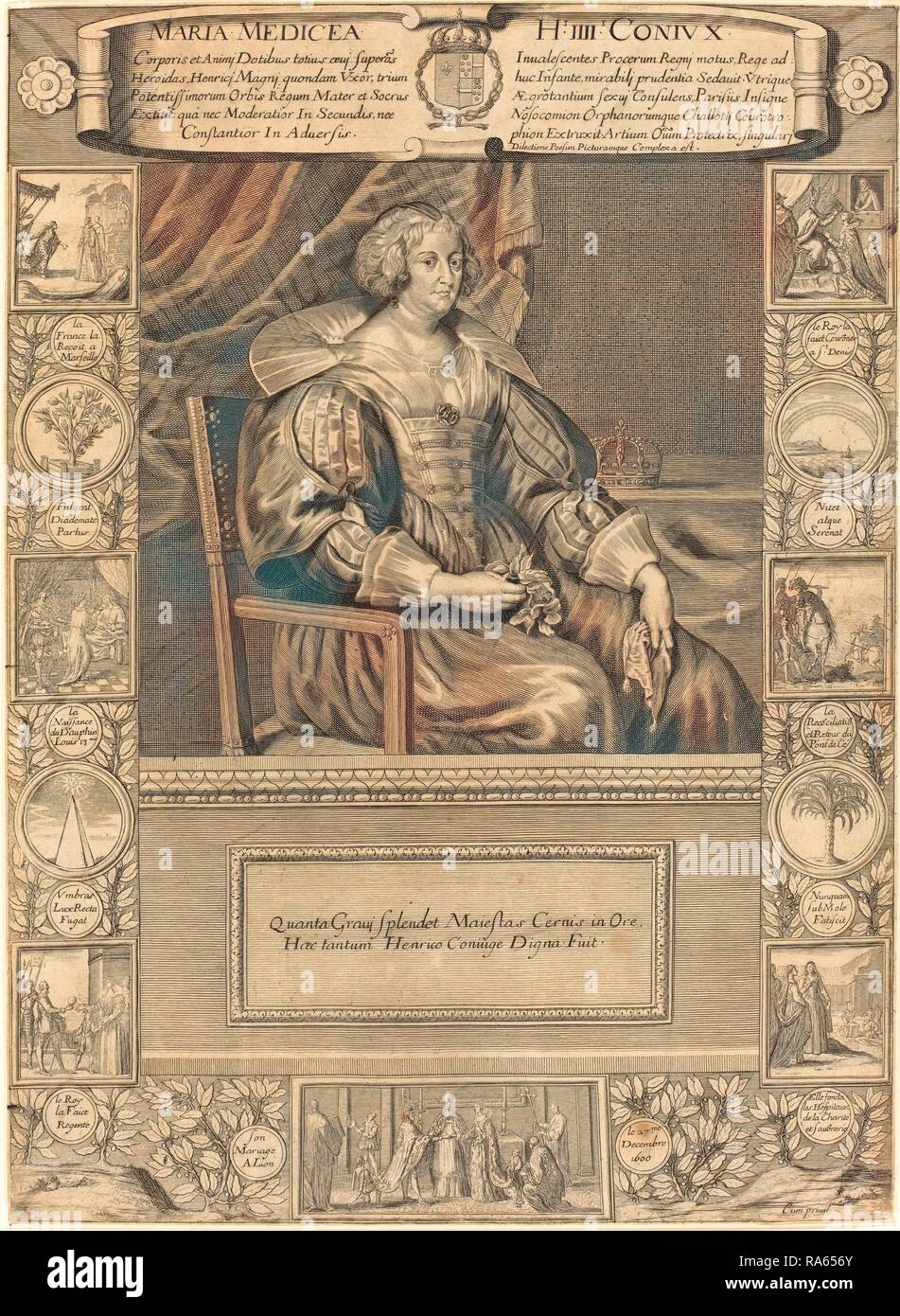 French 17th Century, Marie de Medici, engraving. Reimagined by Gibon. Classic art with a modern twist reimagined - Stock Image