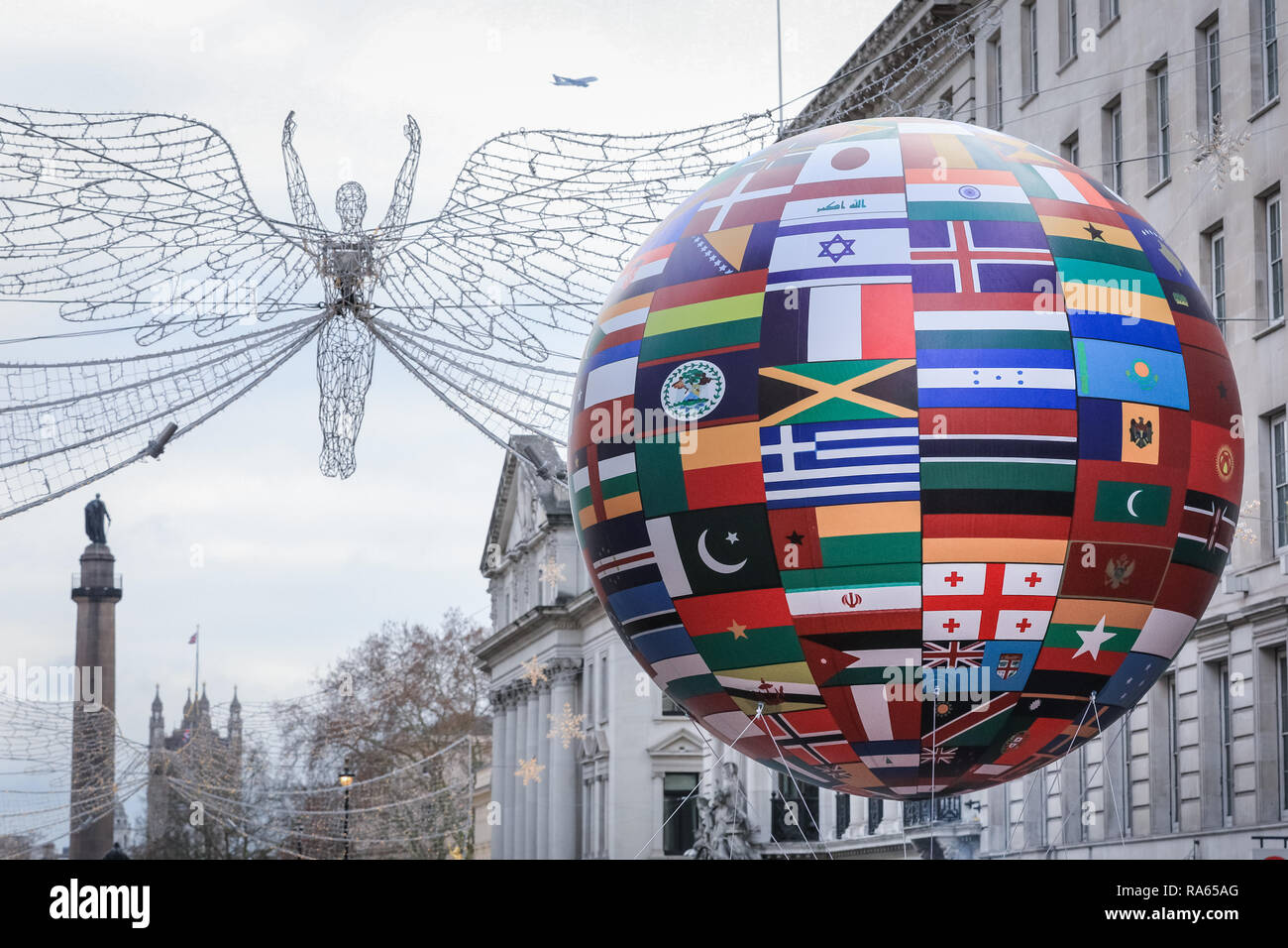 Central Christmas Parade 2019 London, UK. 1st Jan 2019. A colouful balloon with international