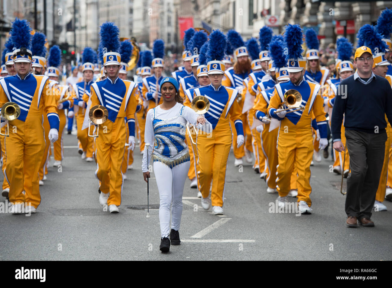 Westminster, London, UK. 1 January 2019. The annual London New Years Day Parade takes place on a route from Piccadilly to Parliament Square, watched by thousands. This years theme is London Welcomes The World. Angelo State University Ram Band from Texas, USA at the head of the parade in Piccadilly. Credit: Malcolm Park/Alamy Live News. - Stock Image