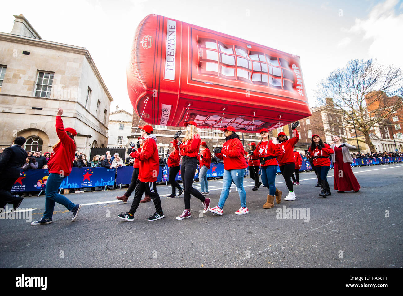 Giant Red Phone Box Balloon at London's New Year's Day