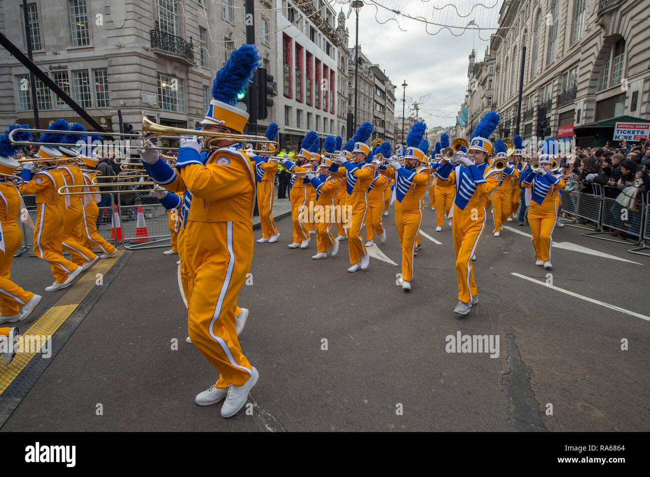 Westminster, London, UK. 1 January 2019. The annual London New Years Day Parade takes place on a route from Piccadilly to Parliament Square, watched by thousands. This years theme is London Welcomes The World. Image: Angelo State University Ram Band, Texas, USA. Credit: Malcolm Park/Alamy Live News. - Stock Image