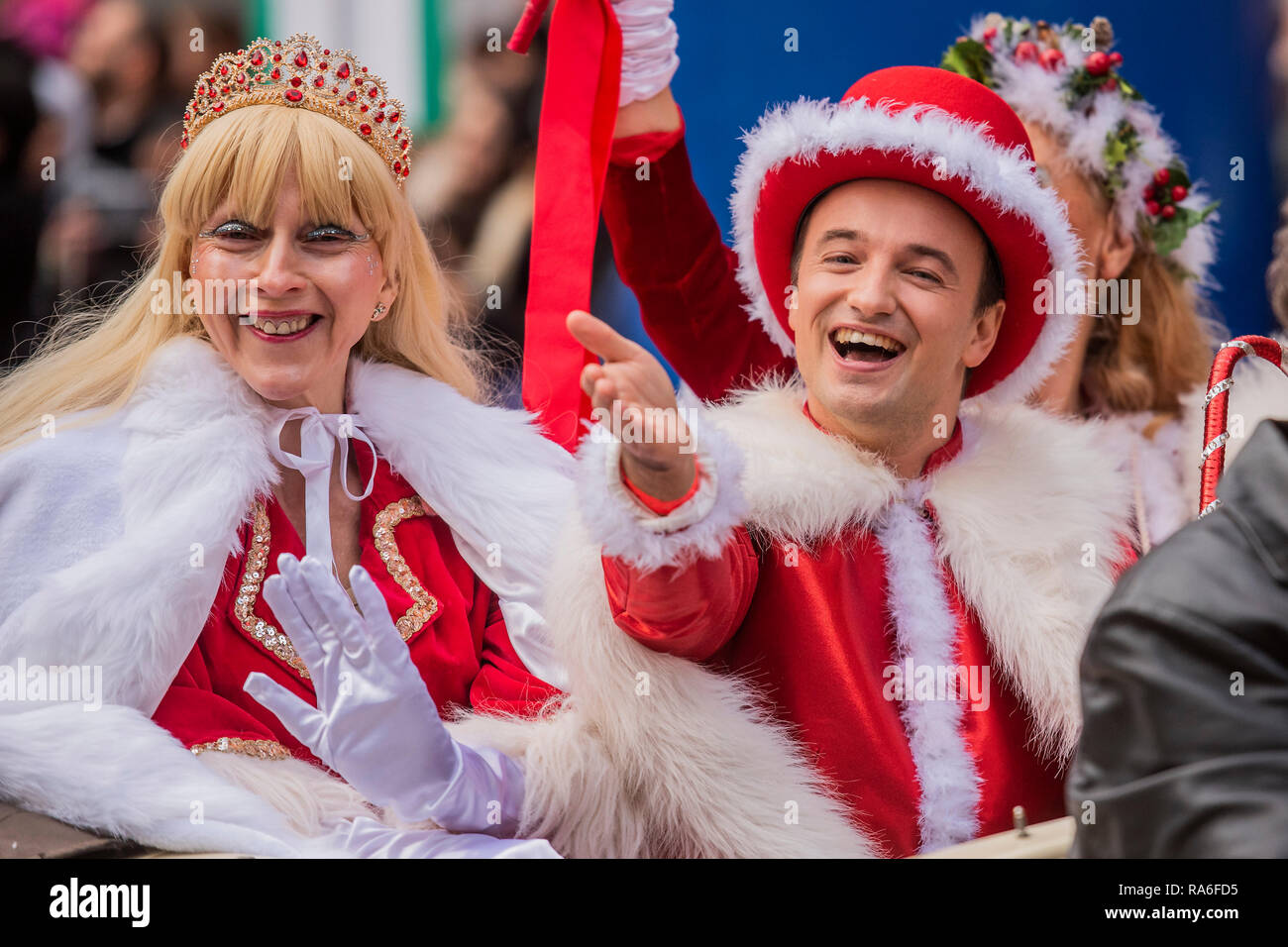 Central Christmas Parade 2019 London, UK. 1st January, 2019. Miss and Mr Christmas   The New
