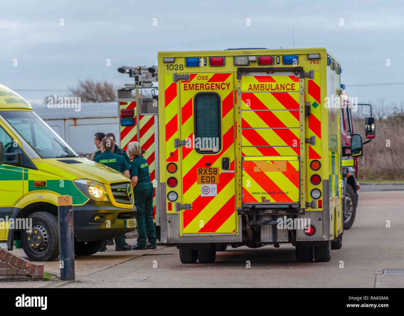 Westham, Sussex, UK. 2nd Jan 2018: Fire crews from Battle, Bexhill, The Ridge, Hastings, Eastbourne and Seaford were called to a fire at a car maintenance unit on Eastbourne Road, Westham. Credit: SEUK News/Alamy Live News Stock Photo