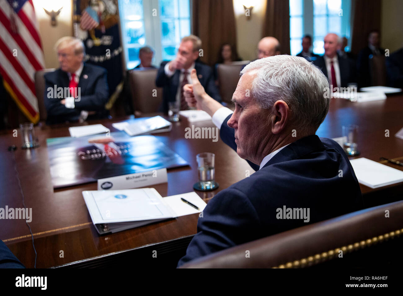 U S Vice President Mike Pence Gives A Thumbs Up During A Cabinet
