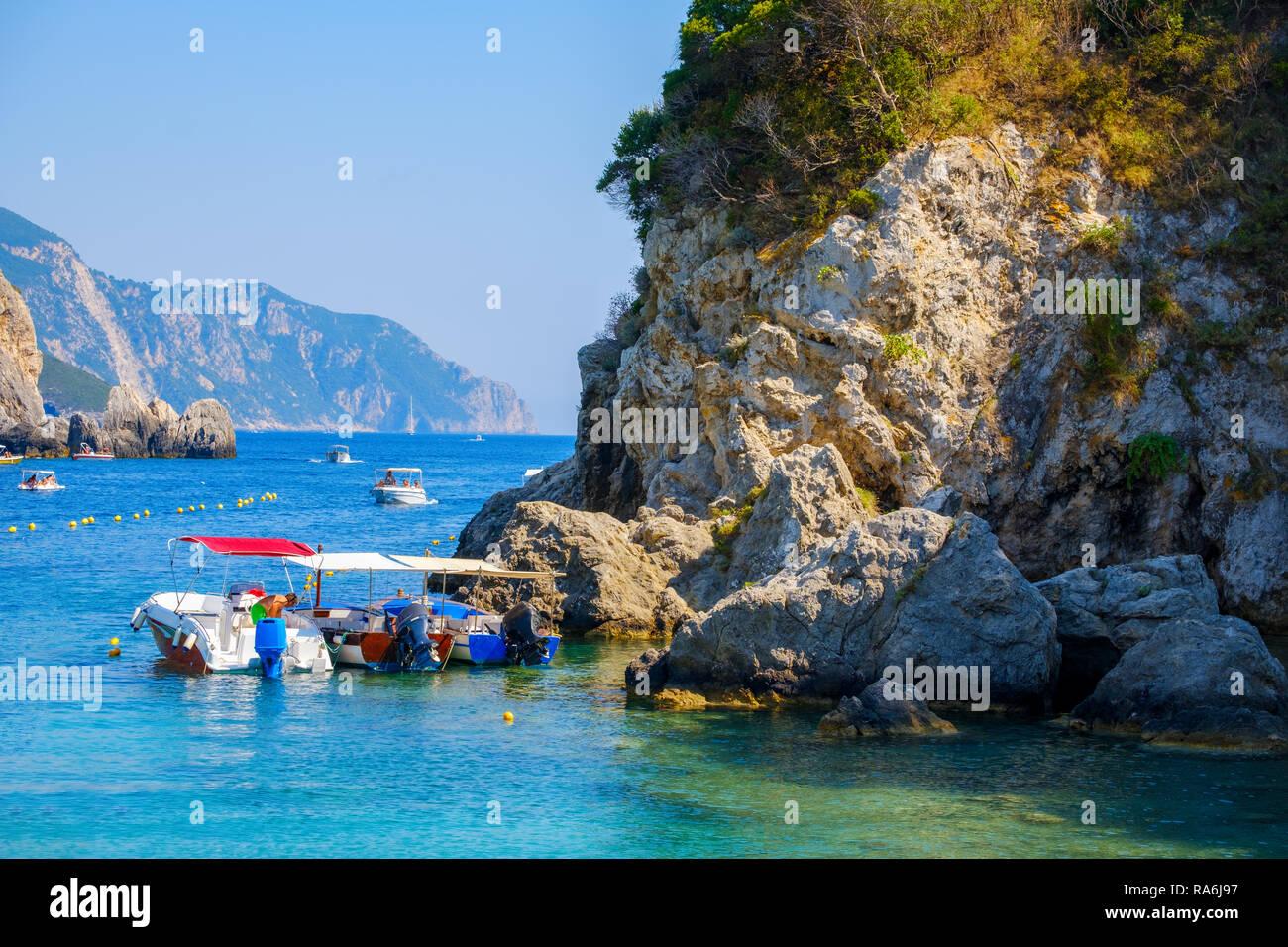 Beautiful island of Corfu, Paleokastritsa bay with charming and wonderful panoramic views in Greece ( Kerkyra) Stock Photo