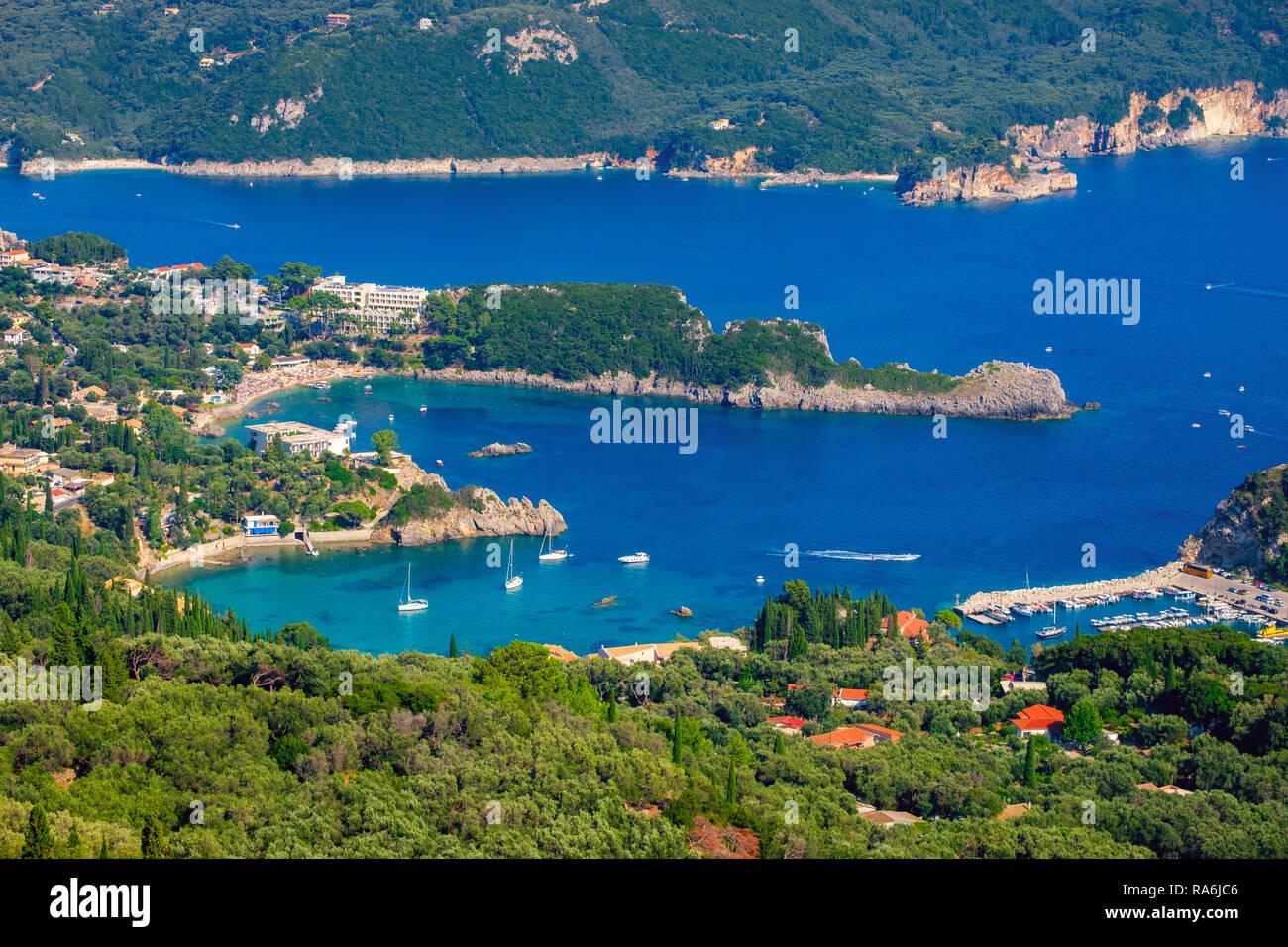 Beautiful island of Corfu, heart-shaped Paleokastritsa bay with charming and wonderful panoramic views in Greece ( Kerkyra) Stock Photo