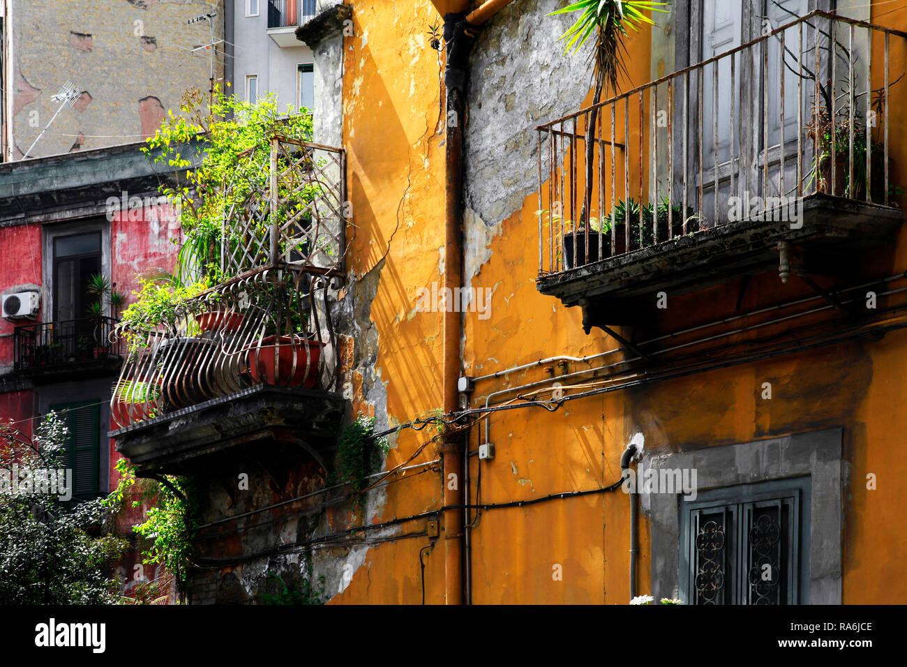 Verwitterte Hausfassade in der Altstadt, Neapel, Kampanien, Italien - Stock Image