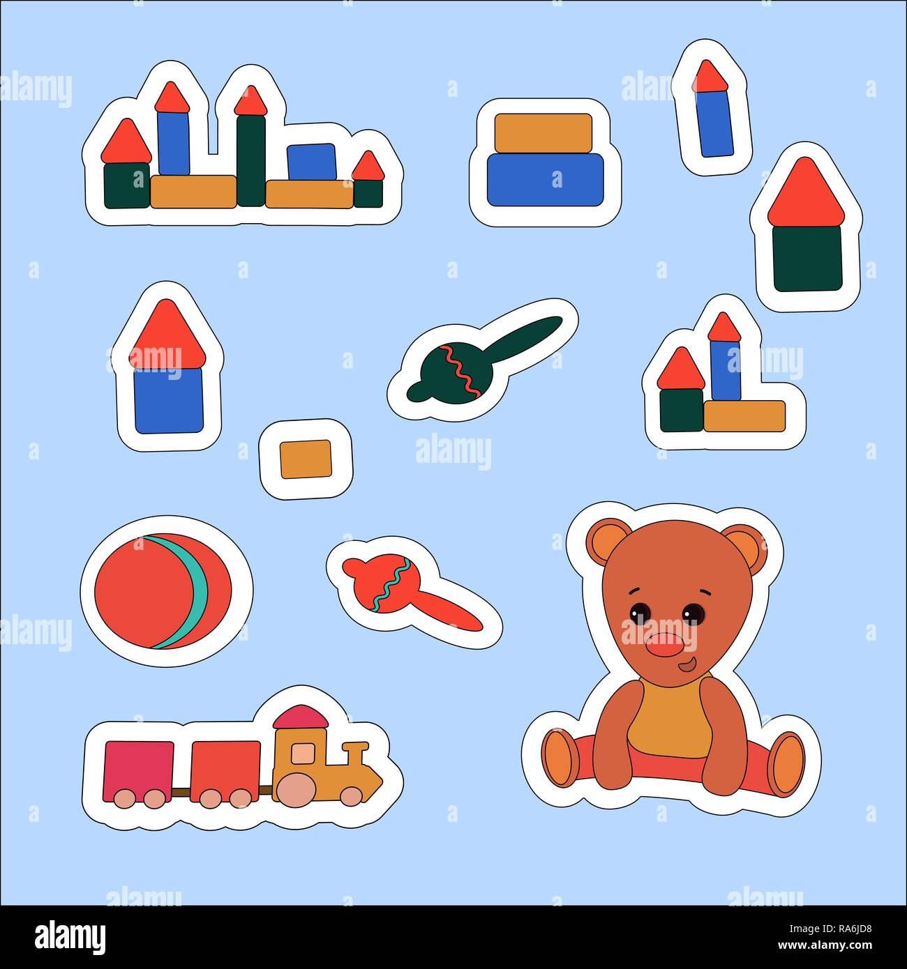Set sticker Teddy Bear and toys. Vector illustration , label, price tag, banner, scrap note - Stock Vector