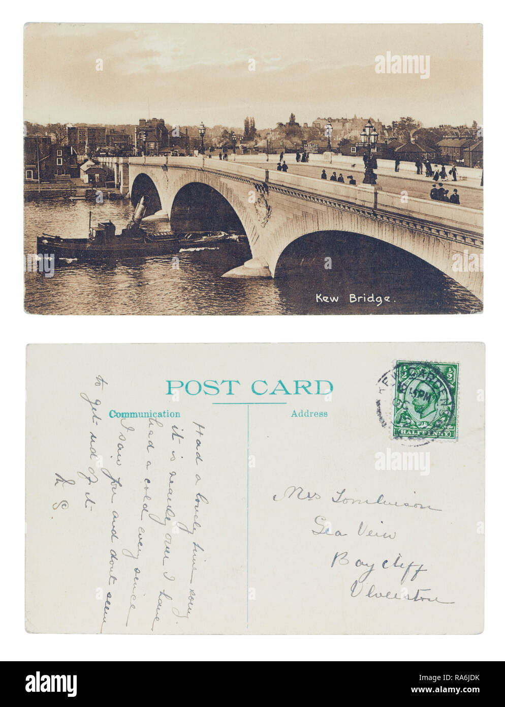 Postcard front and back of Kew Bridge in 1912 sent to Sea View, Baycliff, Ulverston - Stock Image