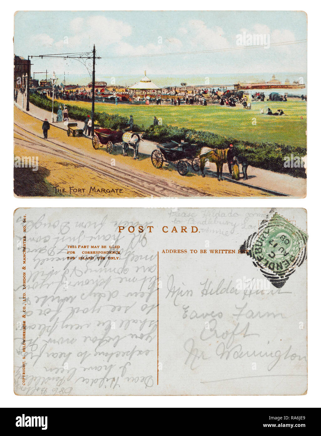Postcard of the Fort Margate sent from 686 Bolton Road, Pendlebury to Miss Hilda Hunt, Eaves Farm, Croft, Warrington in August 1908 - Stock Image