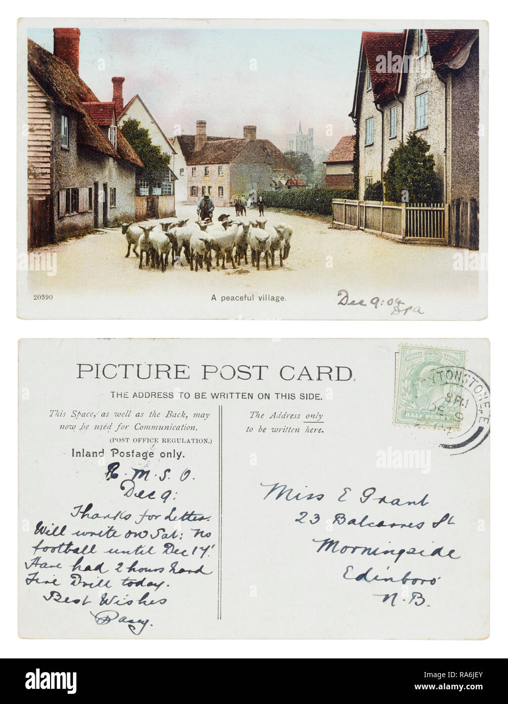 Postcard of a peaceful village from Leytonstone in 1904 to Miss E Grant, 23 Balcarres Street, Morningside, Edinborough - Stock Image