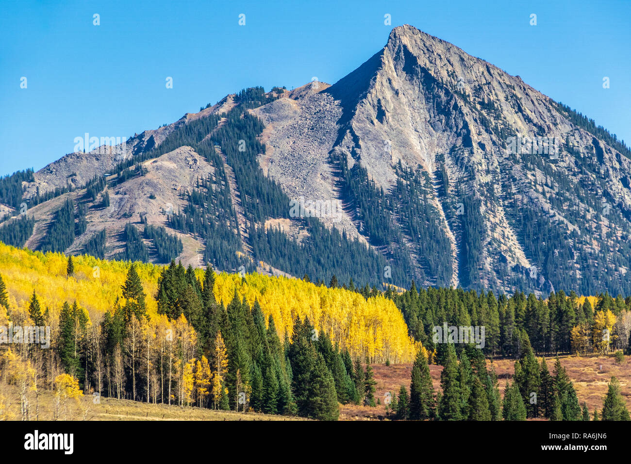 Crested Butte Mountain (or Mount Crested Butte) in Colorado in autumn. Stock Photo