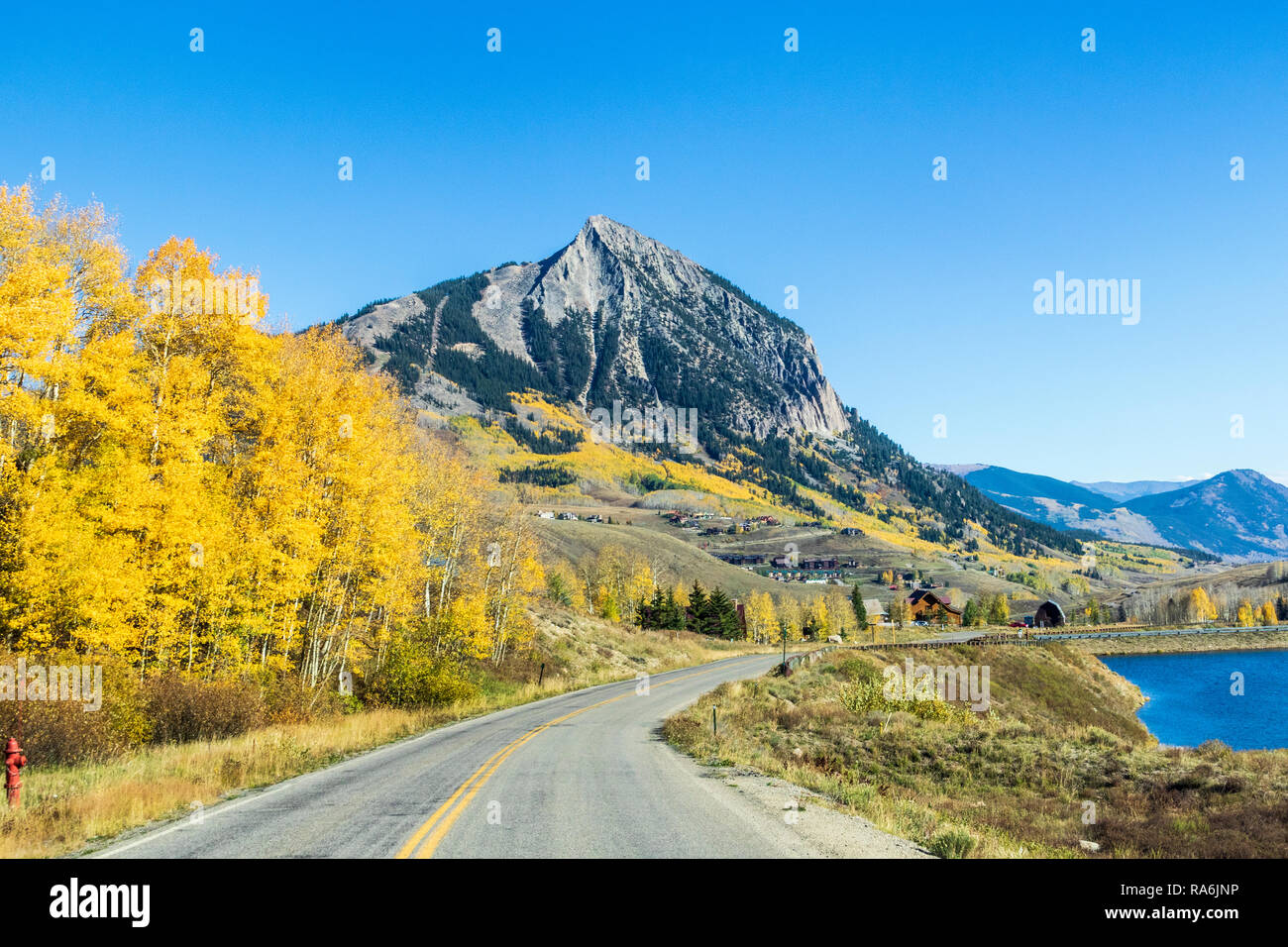 Crested Butte Mountain (or Mount Crested Butte) in Colorado in autumn. - Stock Image