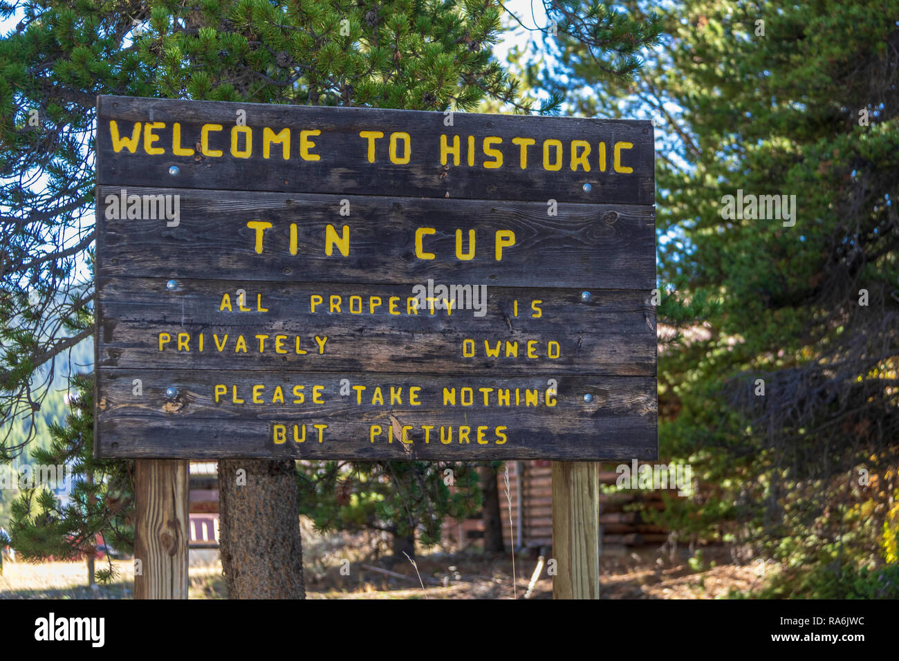 Historic Tin Cup community in Colorado, rural area with limited access in winter. - Stock Image